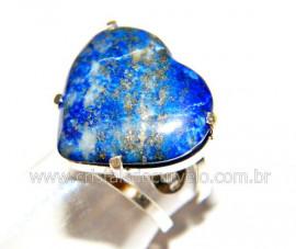 Anel Prata 950 Coração Pedra LAPIS LAZULI Montado em Prata de Lei Ajustavel Reff P30237