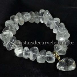 Pulseira Coração Quartzo Cristal Pedra Rolado Silicone 113101