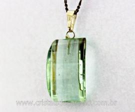 Pingente Retangulo Facetado Pedra Obsidiana Verde Montagem Pino Prata 950 REFF 23.7