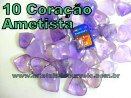 10 Coração AMETISTA Pedra Quartzo Fraco Lilas Pingente Banhado Prata