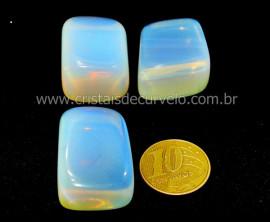 03 Pedra da Lua Opalina Rolado Para Esoterismo Colecionador Reff 44.7