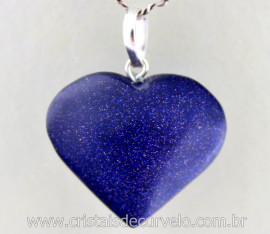 Pingente Coração Pedra Estrela Azul Prata 950 Pino e Perinha