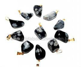 10 Pingente Pedrinha Obsidiana Flocos de Neve Dourado ATACADO