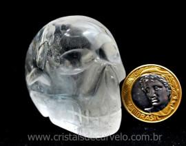 Crânio Quartzo Cristal Pedra Lapidado Artesanal Cod CC4199