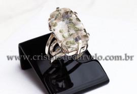 Anel Prata 950 Cristal Lodolita Natural Aro Ajustavel 112373
