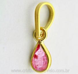 Pingente Ouro 18ct Ponto de Luz Gota Facetada Pedra Turmalina Rosa Montagem Envolto REEF 0.229