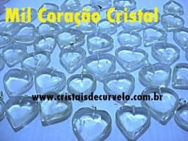 1.000 Coração CRISTAL Pedra Quartzo Pingente Banhado Prata