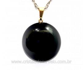 Pingente Disco Pedra Obsidiana Negra Pino Dourado REFF PD6810