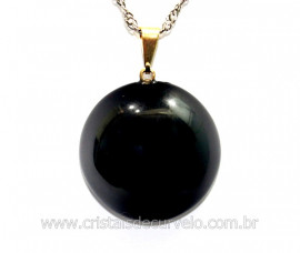 Pingente Disco Liso Pedra Obsidiana Negra Pino Dourado