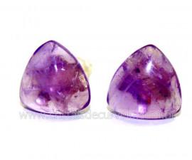 Brinco Topinho Trillion Pedra Ametista Prata 950 Reff BB6303