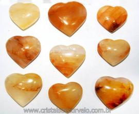 10 Coração Pedra Hematoide Amarelo Natural 4.7 a 6.5cm ATACADO