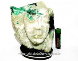 Busto de Artesanato Rosto Esculpido Pedra Esmeralda Cod RE5123