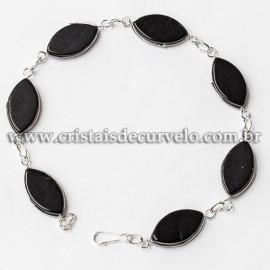 5 Pulseira Navete Ranhurado Obsidiana Negra Prateado ATACADO