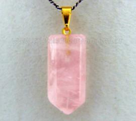 Pingente Pontinha Pedra Quartzo Rosa Presilha e Pino Dourado