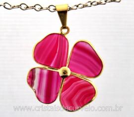 Pingente Trevo Agata Rosa Pedra Natural Trevinho da Sorte Montagem Dourado