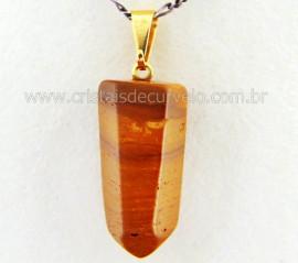 Pingente Pontinha Pedra Jaspe Amarelo Presilha e Pino Dourado