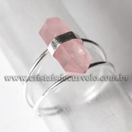 Anel Bi Ponta Pedra Quartzo Rosa Sextavado Prata 950 Ajustavel