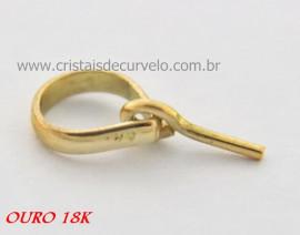 10 Pino e Presilha Ouro 18 Amarelo Para Montagem de Pingentes Furados