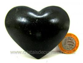 Coração De Quartzo Preto Quartzito Negro Pedra Natural Tamanho Medio Cod 134.5