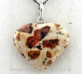 Pingente Coração Pedra Jaspe Leopardita natural Castoação Prata 950 Pino e Perinha