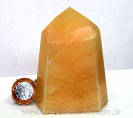 Ponta Calcita Mexicana Boa Qualidade Pedra Natural Lapidado em Gerador Sextavado Cod 438.8