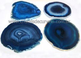 Chapa de Agata Azul Escuro Porta Copos Ou Artesanato G 100mm