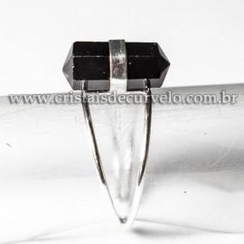 Anel Bi Ponta Pedra Obsidiana Negra Sextavado Prata 950 Ajustavel