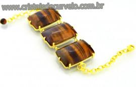 Bracelete 03 Pedras Olho de Tigre Lapidação Retangular Cabochão Dourado Cod 40.6