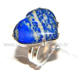 Anel Prata 950 Coração Pedra LAPIS LAZULI Montado em Prata de Lei Ajustavel Reff P54903