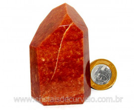 Ponta Quartzo Vermelho Pedra Natural de Garimpo Cod PQ4607
