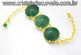Bracelete 03 Pedras Quartzo Verde Lapidação Cabochão Disco Dourado Cod 32.2