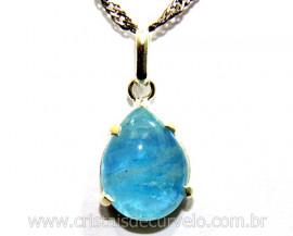 Pingente Gota Lisa Topazio Azul Extra Prata 950 REFF GP5742