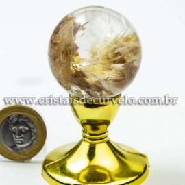 Bola Cristal Inclusão Lodolita Natural Esfera Especial 120463