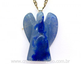 Anjinho Pingente Pedra Quartzo Azul Pino Prateado Ref AP6335