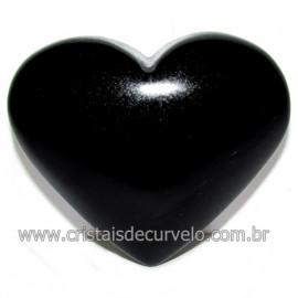 Coraçao de Obsidiana Negra Mineral Lava Vulcanica Cod 116321
