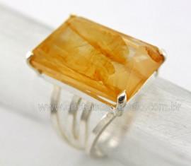 Anel Prata 950 Pedra Hematoide Amarelo Multifacetado Aro Ajustavel ao Dedo REFF 41.7