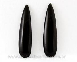 4 Pares Gota Longa pra Pingente ou Brinco Pedra Obsidiana Negra Lapidado 40 x 10mm