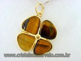 Pingente Trevo Olho de Tigre  Pedra Natural Trevinho da Sorte Flasch Dourado