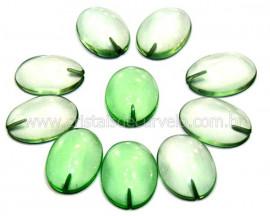 10 Cabochao Oval Obsidiana Verde Furado Pra Montagem 18x25mm REFF CF7838