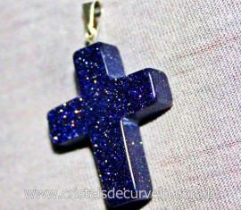Crucifixo Pedra Estrela Pingente Cruz Pedra Natural Pino e Presilha Banho Flash Prata