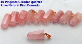 100 Pingente Pontinha Atacado Pedra Quartzo Rosa Presilha e Pino Dourado