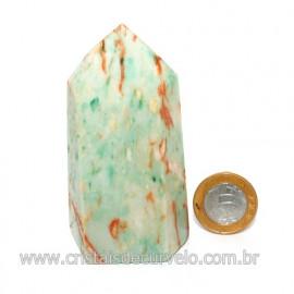 Ponta Jade Verde Lapidado Pedra Natural de Garimpo Cod 121199