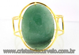 Bracelete Fixo Pedra Grande Aventurina Verde Armação Suave Cor Dourado Ouro