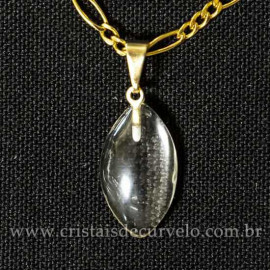 Mini Pingente Navete 20mm Pedra Cristal Quartzo Natural Dourado