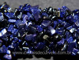 Fio Misto Pedra Estrela Azul e Onix Preto Cascalho Extra Furado Pedra Natural Rolada 90cm
