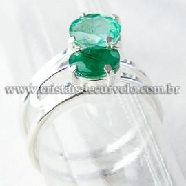 Anel 2 Gema Esmeralda Extra Facetado Prata 950 Ajustavel 112527