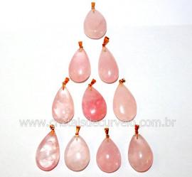 10 Pingente GOTA Pedra Quartzo Rosa Natural Montagem Flash Dourado ATACADO
