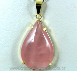 Pingente Extra Gota Pedra Quartzo Rosa Montagem Garra Dourado