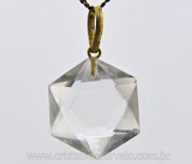 Estrela Davi Pingente Pedra Cristal Extra Ouro 18 Ct Pingente Estrela