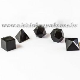 Kit Radionico Obsidiana Negra Solido de Platao Facetado 112902